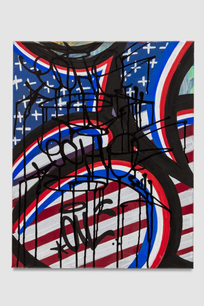 American Flag © 2016 spray paint, ink + acrylic on canvas 18 x 24 inches (45.72 x 60.96 cm)