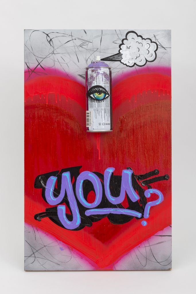 Can I Love You? version 2 © 2015 mixed media on particle board 14.5 x 24 x 4 inches (36.8 x 60.9 x 10.2 cm)